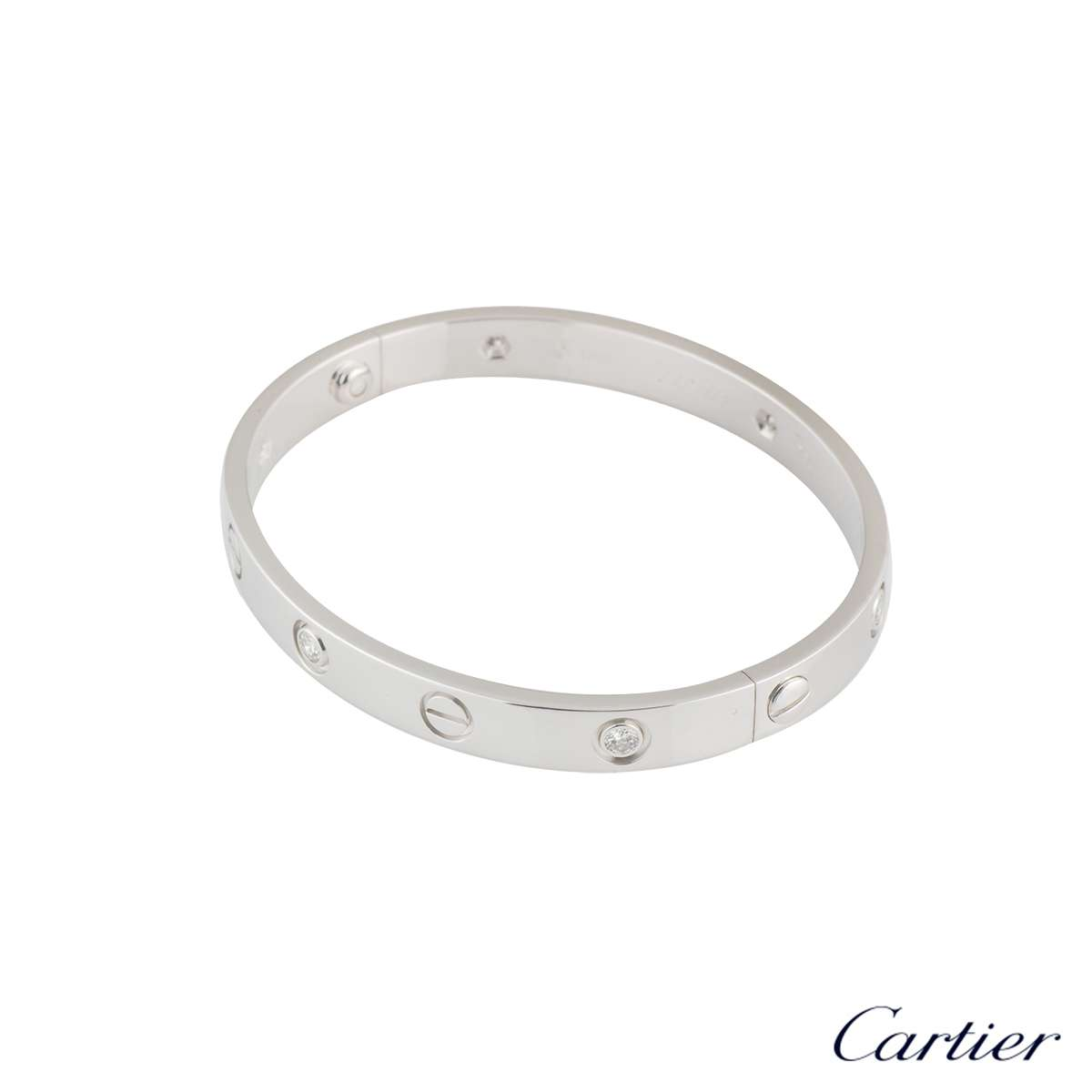 Cartier White Gold Half Diamond Love Bracelet Size 18 B6014018